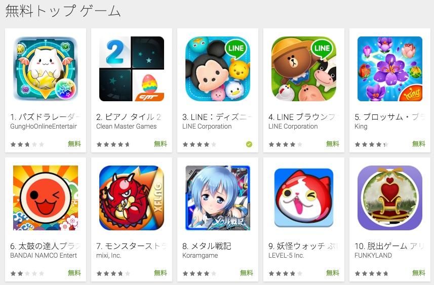 2016.3.22の無料トップゲーム